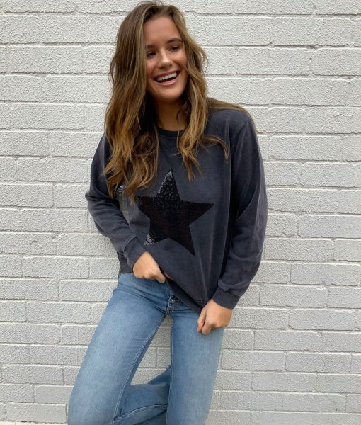 charcoal sweater sequin star