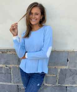 cashmere sweater blue & cream