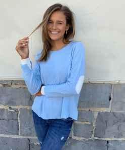 cashmere sweater blue & cream