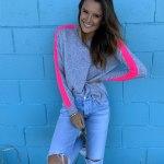 100% Cashmere, Arm Stripe - Grey & Pink