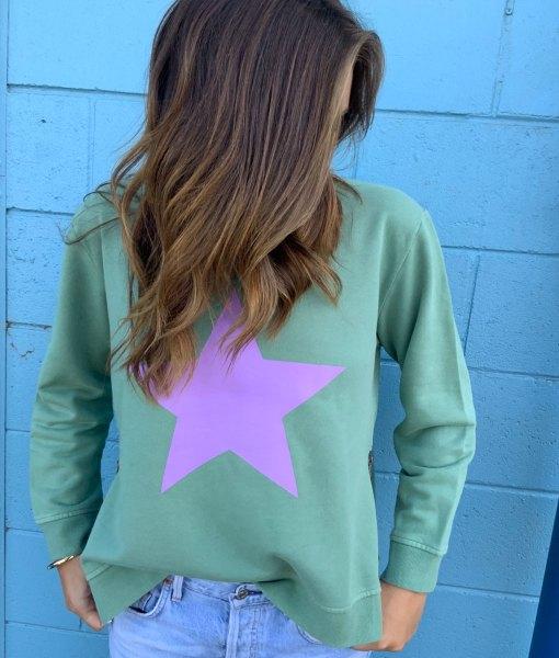 Khaki & Lilac zip sweater