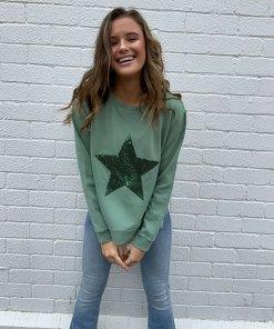 khaki sweater sequin star