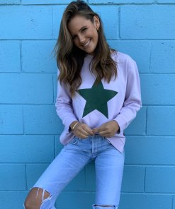 lilac & khaki star sweater