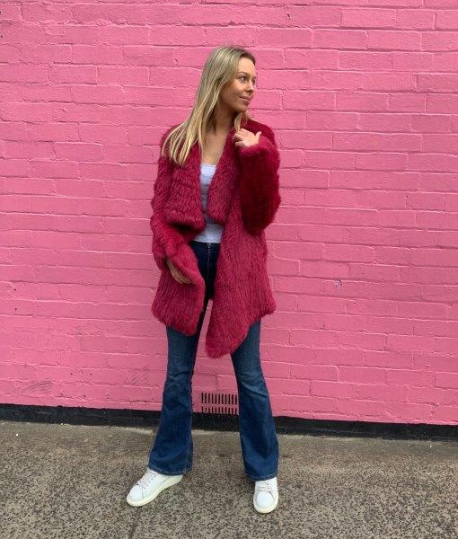Red waterfall coat