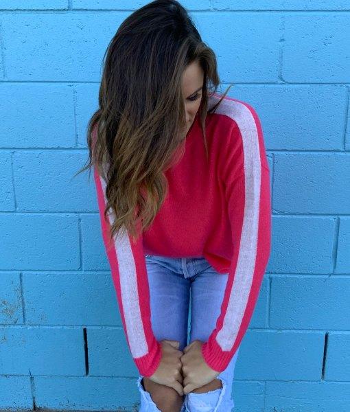watermelon & oatmeal sweater