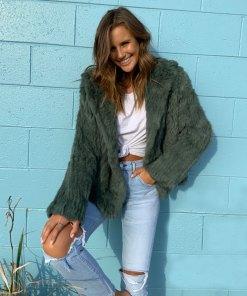 weekend fur jacket green
