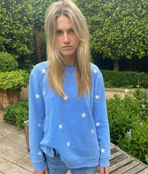 blue sweater embroidery star star