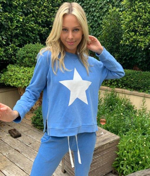 royal blue white star sweater
