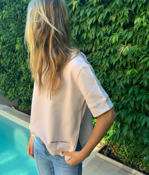 blush short sleeve sweater
