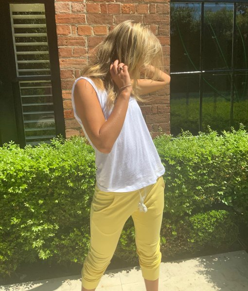 yellow fitted trackpants