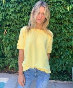 yellow sweater short sleeve