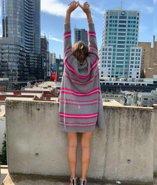 grey & pink stripe mohair cardigan