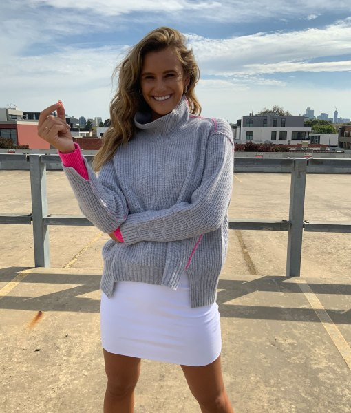 ribbed funnel neck grey sweater
