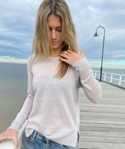 beige metallic star sweater