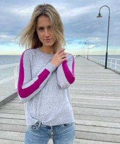 grey & plum contrast stitch sweater