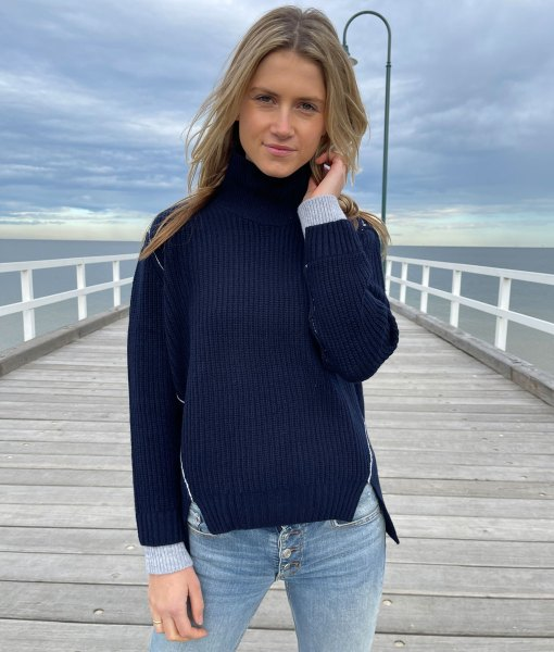 navy funnel neck sweater
