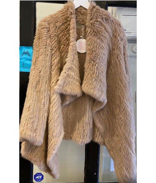 long fur coat camel