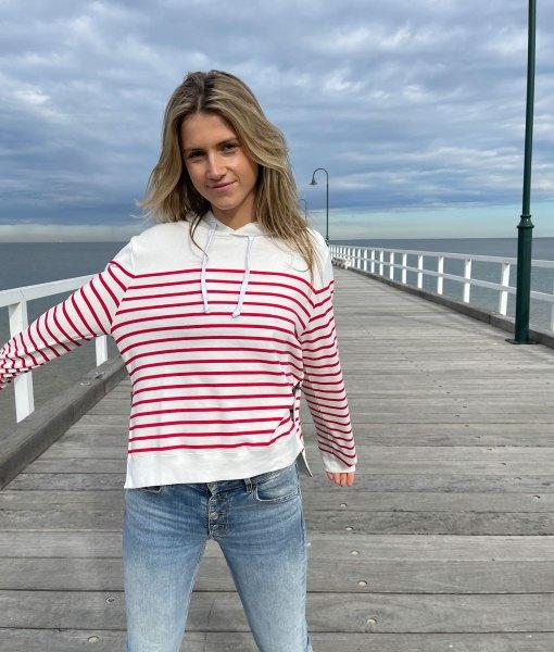 red & white stripe hoodie