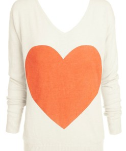 cream with coral heart angora sweater
