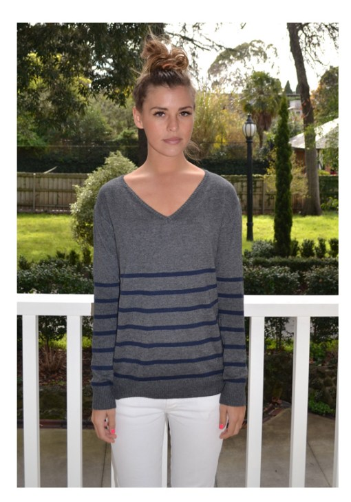 charcoal with navy stripe angora sweater