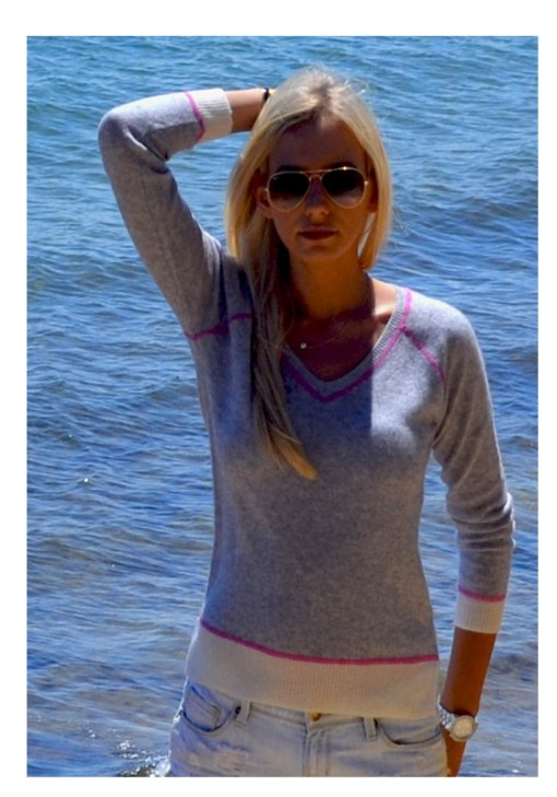 grey with pink stitching sweater