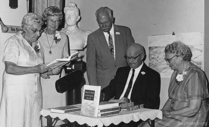 """Ottie Coreth, Franciska Liebscher, Fred Oheim, Oscar Haas and his wife at book signing of """"History of New Braunfels and Comal County, Texas, 1844-1946."""""""