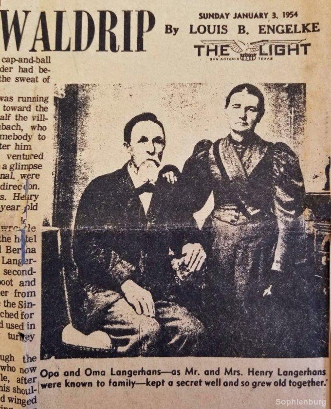Mr. and Mrs. Henry Langerhans, San Antonio Light, January 3, 1954, Haas collection