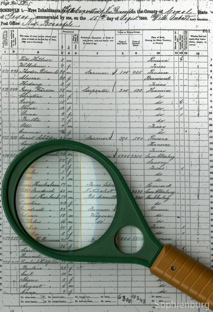 "The Comal County Census of 1860 listing Otto Friedrich as a ""Naturalist"""