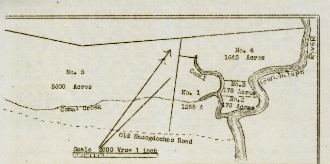 Caption: 1840s abstract map showing the two-league Veramendi tract part of which eventually became New Braunfels.