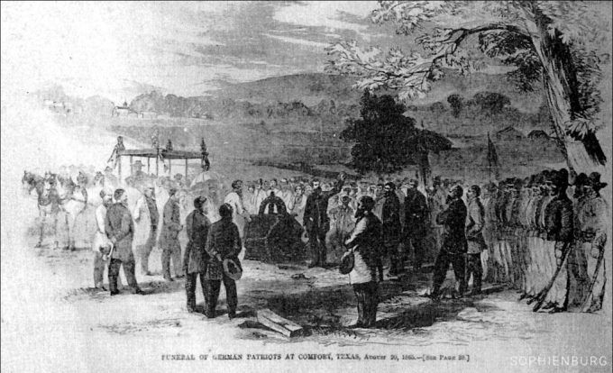 Sketch: 1865 funeral in Comfort of the young Germans killed at the Nueces River. This is a copy of the sketch made by a representative of Harper's Weekly who attended and reported on the event. It shows Eduard Degener delivering the funeral oration. Two of his sons are among the remains of the 36 young men in the coffin built of native cypress by local men.