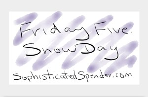 friday five, snow day, sophisticated spender