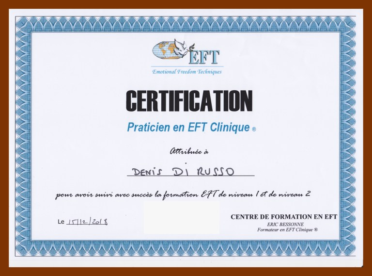 Sophrologue Aix en Provence, Denis Di Russo, certification Praticien EFT