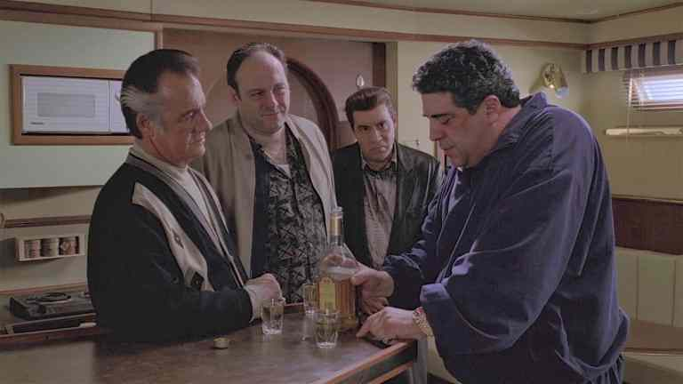 Big Pussy Bonpensiero on the boat with Tony, Paulie, and Silvio before they shoot him.