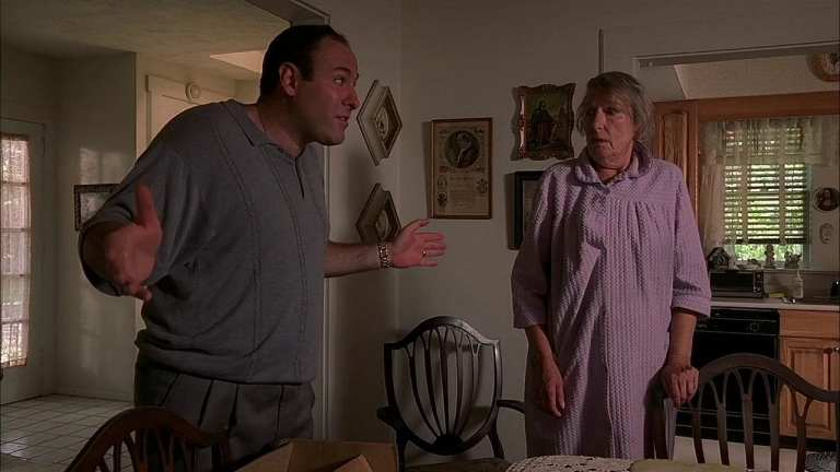 Livia Soprano talking to Tony Soprano in her house.