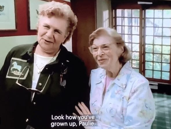 The old ladies talking to Paulie