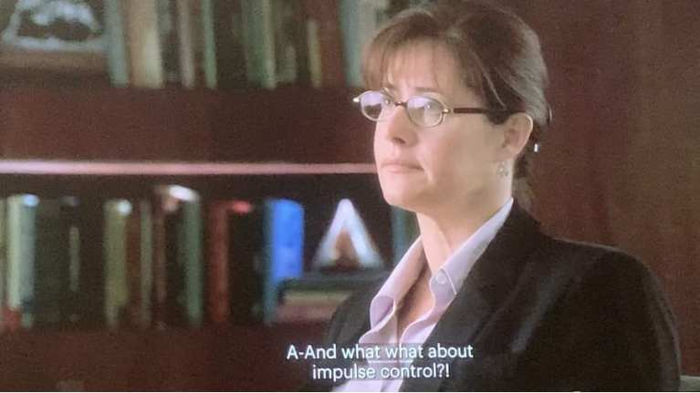 Dr. Melfi talking to Tony in a therapy session