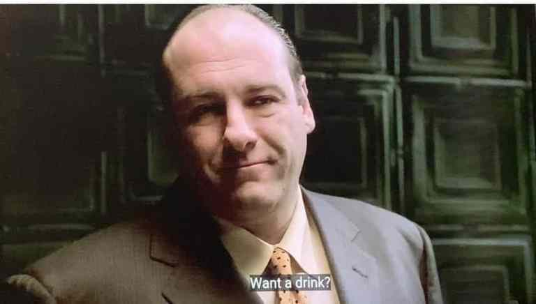 Tony Soprano asking Ralph if he wants a drink.