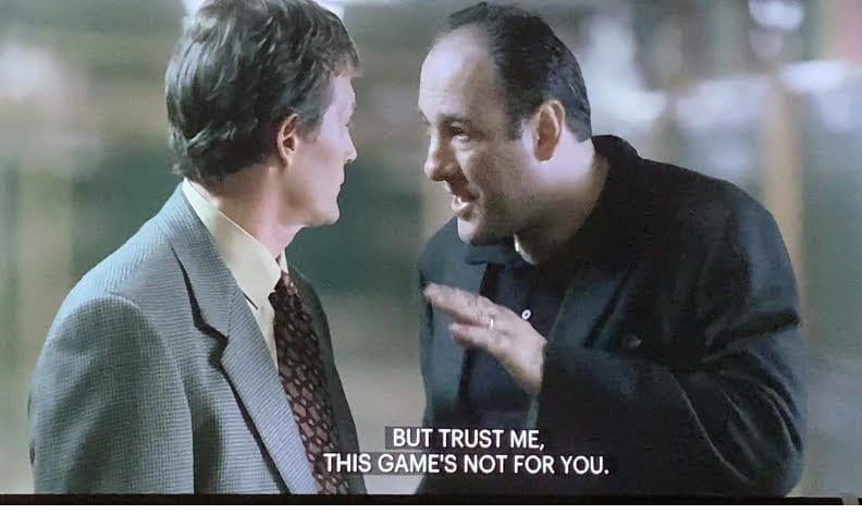 Tony Soprano talking to Davey Scatino