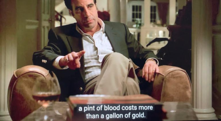 Little Carmine telling the New York and New Jersey heads of the family that a pint of blood costs more than a gallon of gold.
