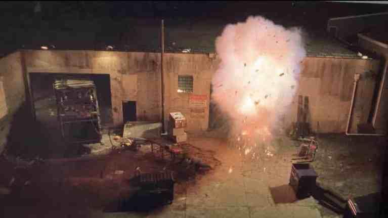 A fire bomb explodes at a sanitation plant.