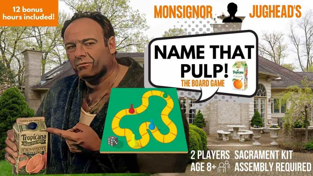 A picture of Tony soprano with a carton of orange juice amd a sign saying name that pulp.