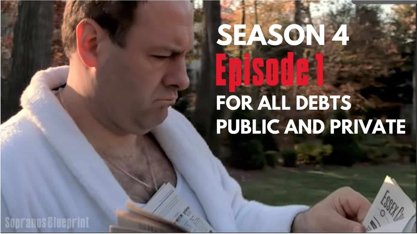 tony soprano is at the end of his driveway grabbing his newspaper and glancing at one of the headlines.