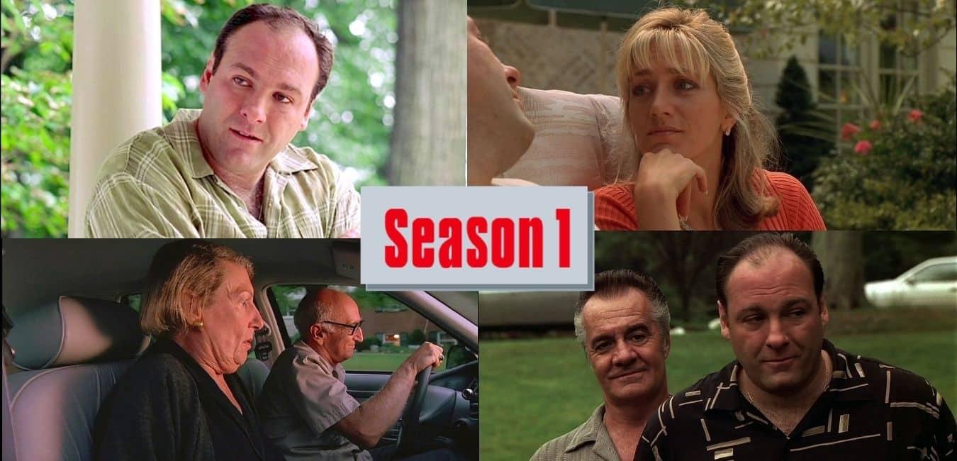 four photos from season 1 of the sopranos