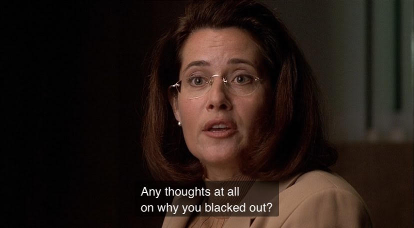 Dr. Melfi is asking Tony if he has any thoughts at all on why he blacked out.