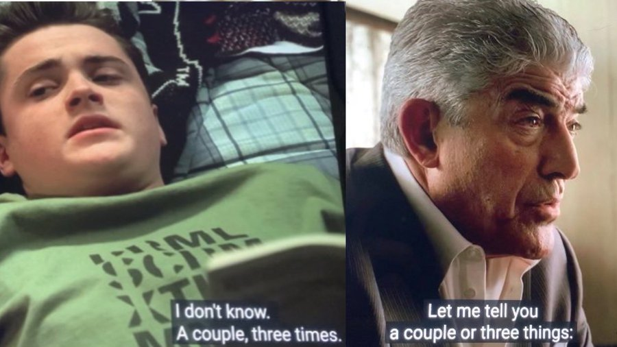 a.j. soprano and phil leotardo are saying a couple or three things.