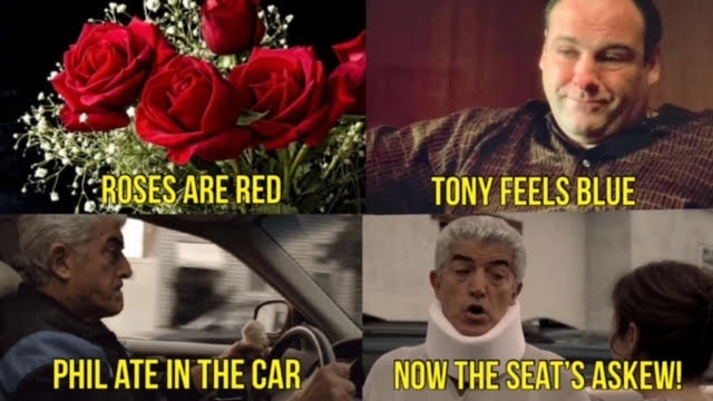 a meme love letter with scemes of tony soprano and phil leotardo