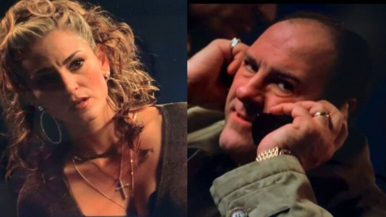 adriana sees tony on the phone in crazy horse and worries he's talking about her.