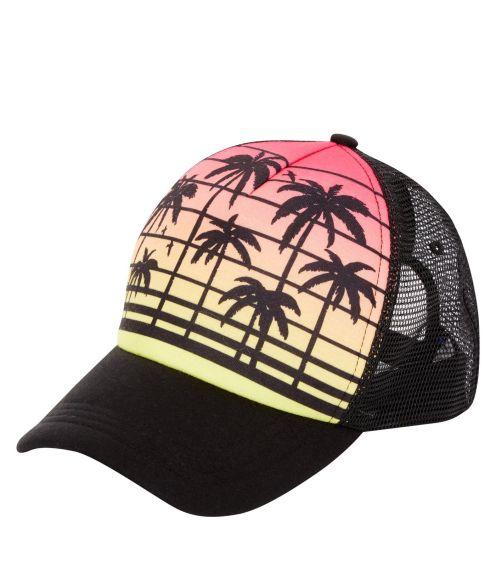 casquette-noire-color-block-à-imprimé-tropical-