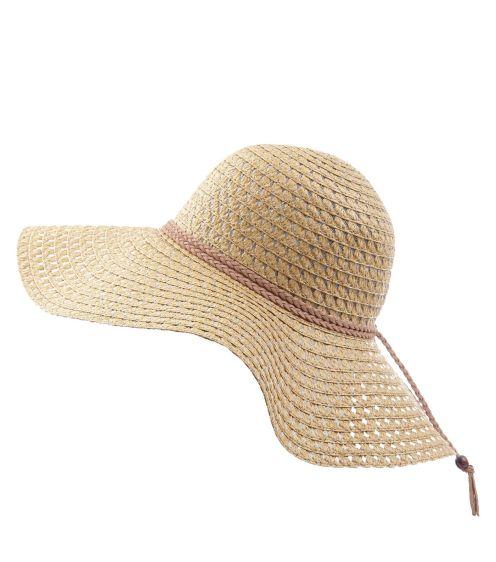 chapeau-souple-beige-à-détail-tressé-en-suédine
