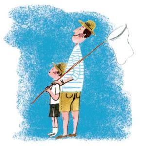お父さんと息子のイラストレーション